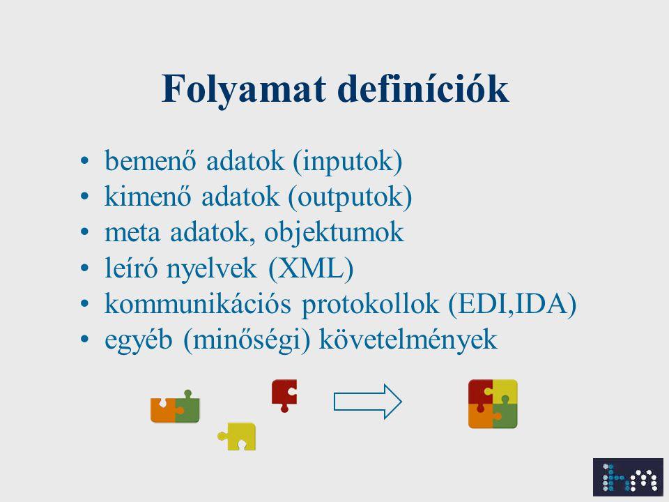 Folyamat definíciók bemenő adatok (inputok) kimenő adatok (outputok) meta adatok, objektumok leíró nyelvek (XML) kommunikációs protokollok (EDI,IDA) egyéb (minőségi) követelmények