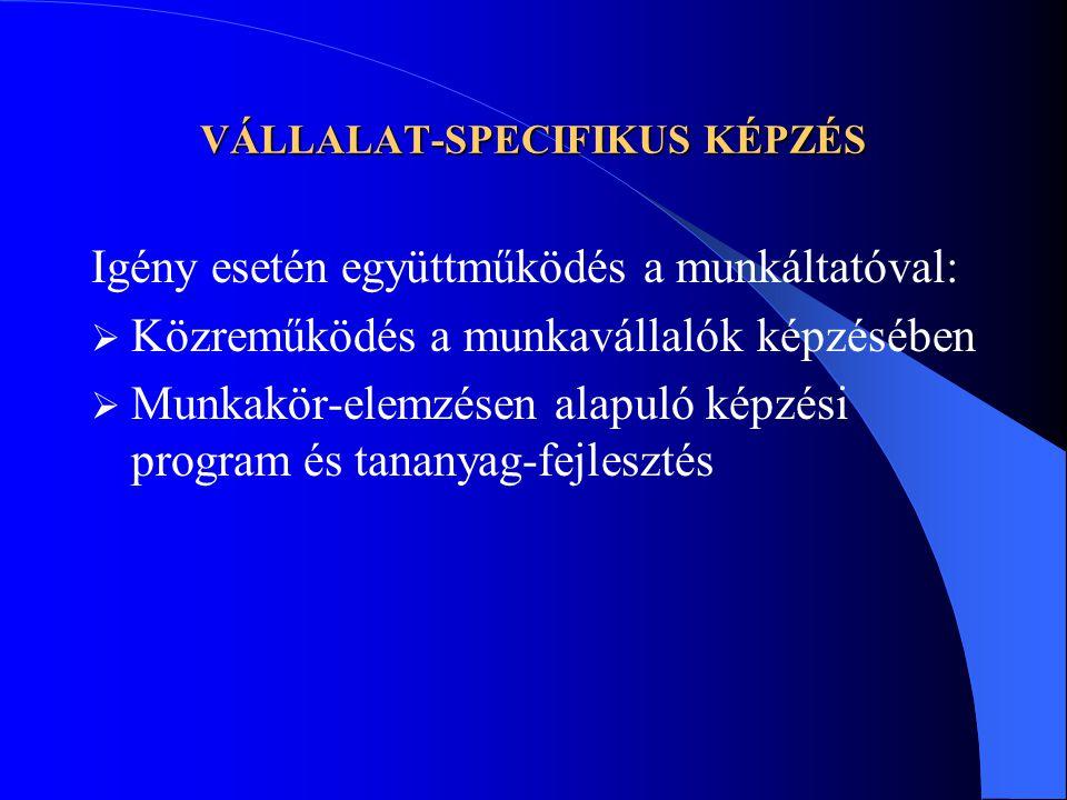 VÁLLALAT-SPECIFIKUS KÉPZÉS Igény esetén együttműködés a munkáltatóval:  Közreműködés a munkavállalók képzésében  Munkakör-elemzésen alapuló képzési program és tananyag-fejlesztés