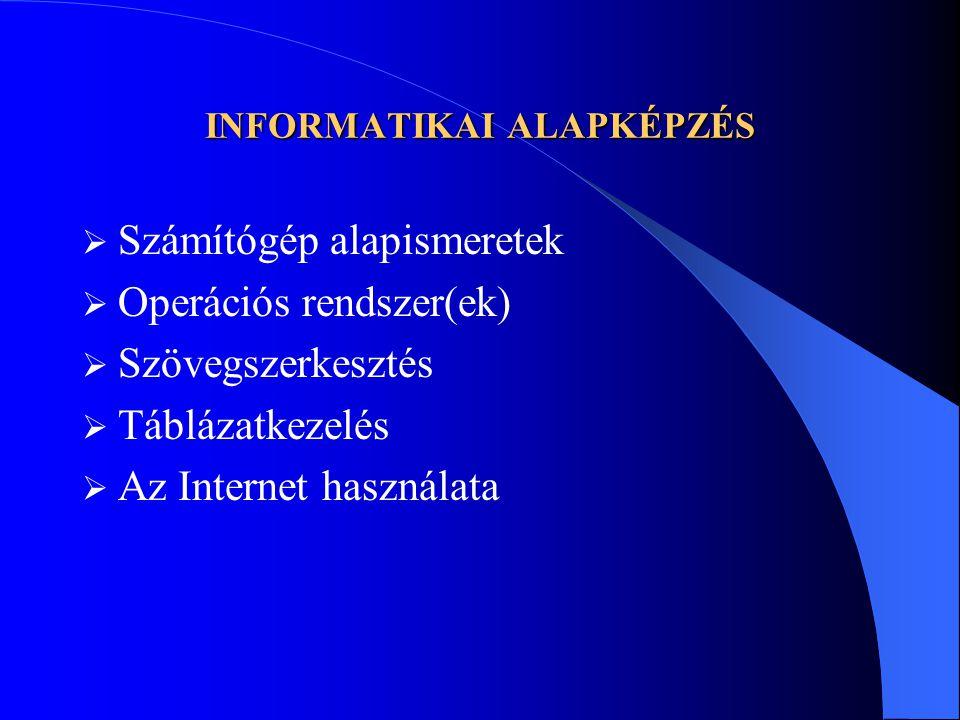INFORMATIKAI ALAPKÉPZÉS  Számítógép alapismeretek  Operációs rendszer(ek)  Szövegszerkesztés  Táblázatkezelés  Az Internet használata