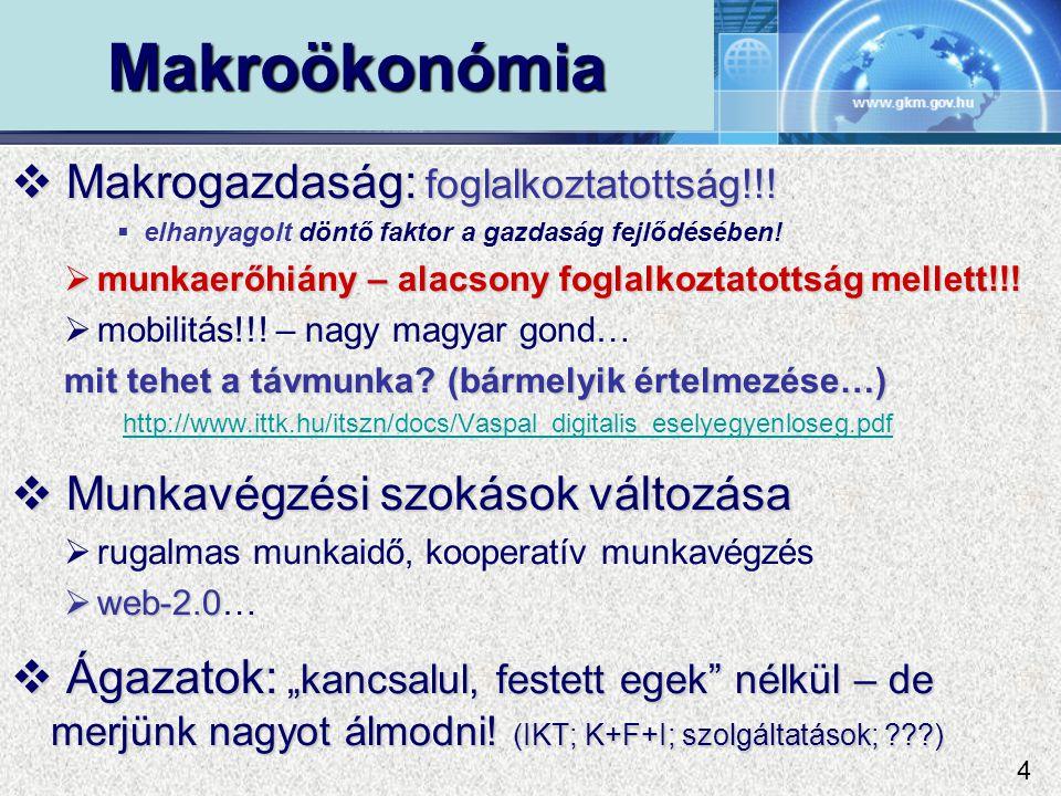 Makroökonómia  Makrogazdaság: foglalkoztatottság!!.