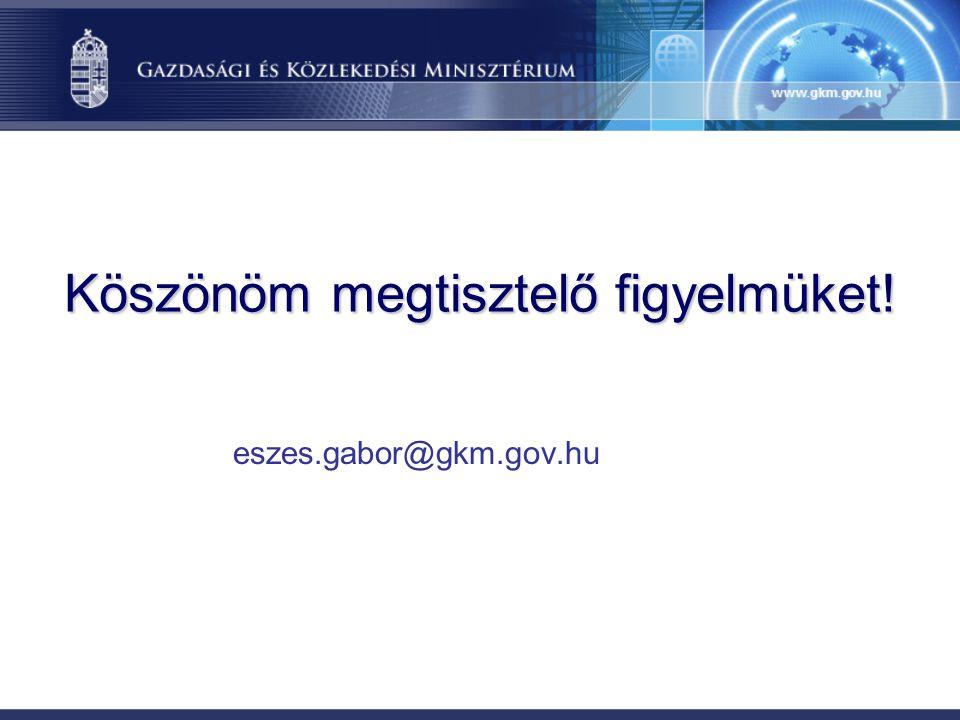 Köszönöm megtisztelő figyelmüket! eszes.gabor@gkm.gov.hu