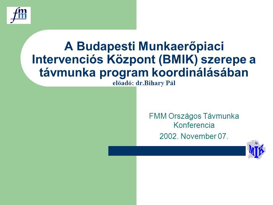 A Budapesti Munkaerőpiaci Intervenciós Központ (BMIK) szerepe a távmunka program koordinálásában előadó: dr.Bihary Pál FMM Országos Távmunka Konferencia 2002.