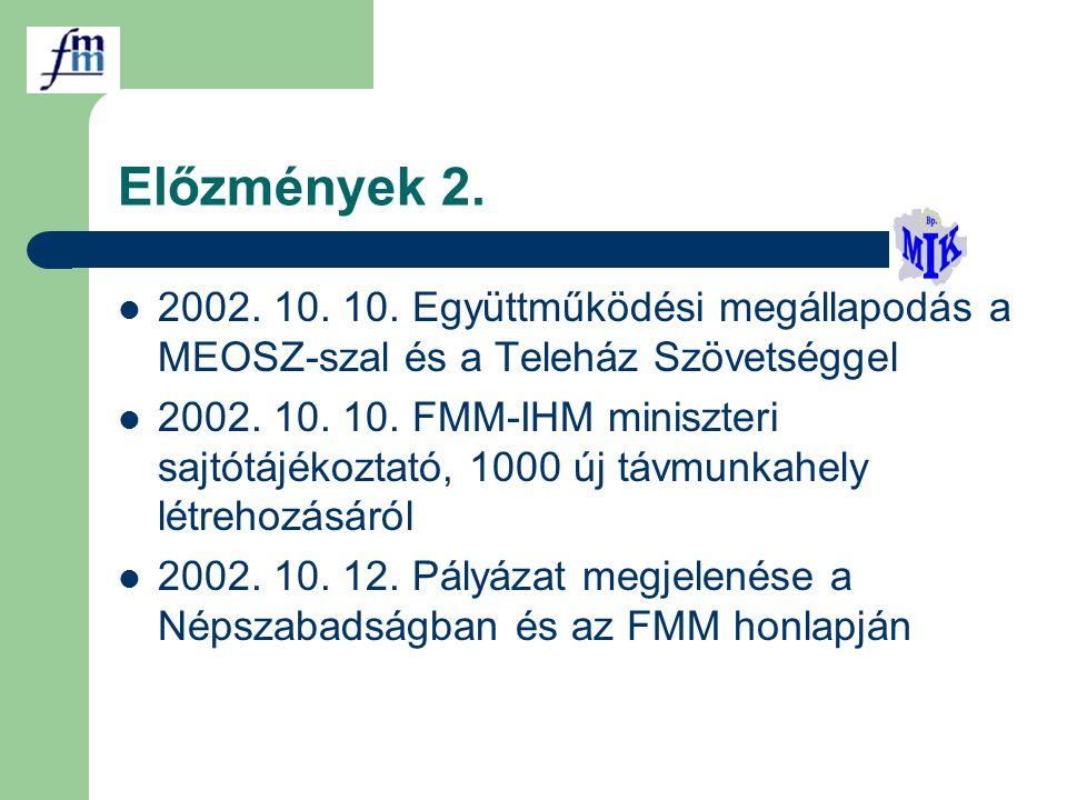 Előzmények 2. 2002. 10. 10. Együttműködési megállapodás a MEOSZ-szal és a Teleház Szövetséggel 2002. 10. 10. FMM-IHM miniszteri sajtótájékoztató, 1000