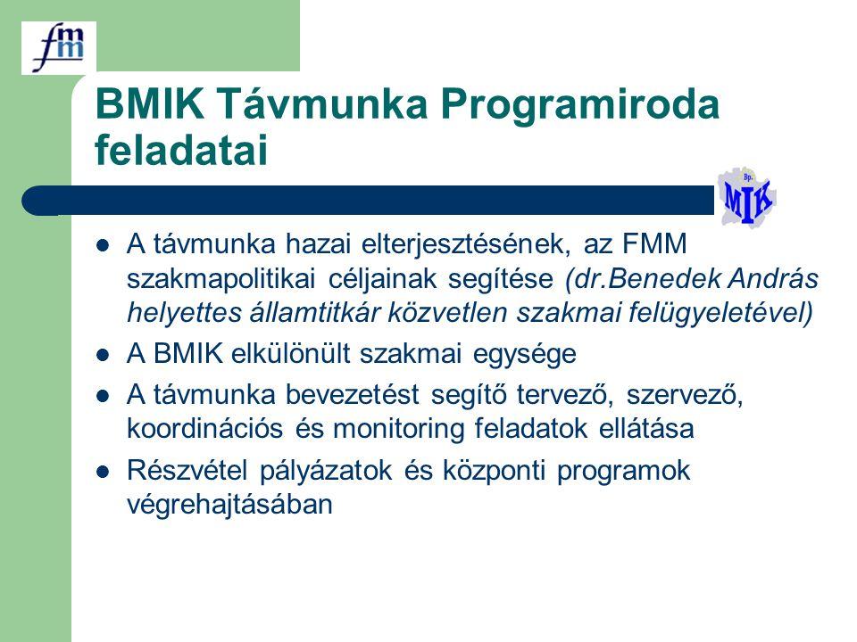 BMIK Távmunka Programiroda feladatai A távmunka hazai elterjesztésének, az FMM szakmapolitikai céljainak segítése (dr.Benedek András helyettes államtitkár közvetlen szakmai felügyeletével) A BMIK elkülönült szakmai egysége A távmunka bevezetést segítő tervező, szervező, koordinációs és monitoring feladatok ellátása Részvétel pályázatok és központi programok végrehajtásában