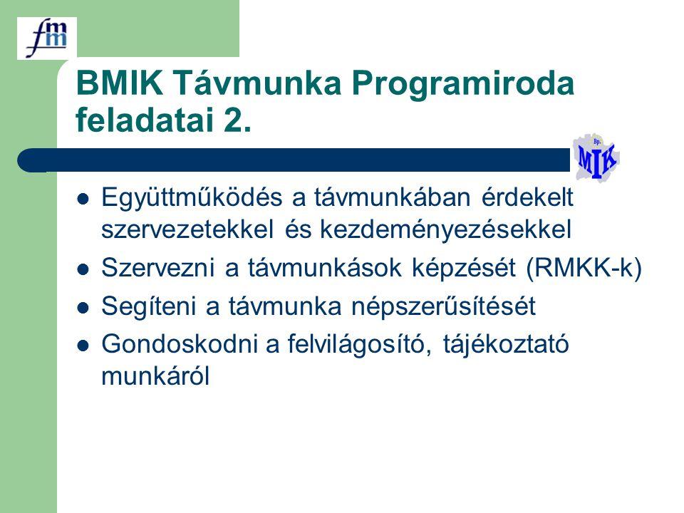 BMIK Távmunka Programiroda feladatai 2. Együttműködés a távmunkában érdekelt szervezetekkel és kezdeményezésekkel Szervezni a távmunkások képzését (RM