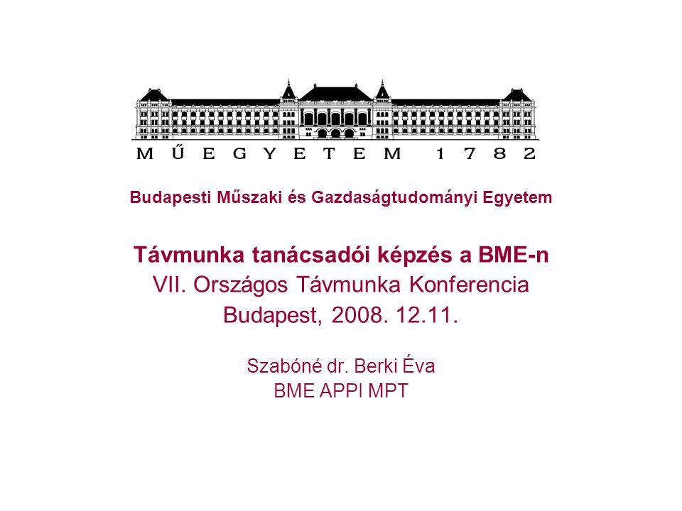 A szakirányú továbbképzési szak Előzmények TÁMOP 1.3.1.: komplex, a távmunka végzést támogató szolgáltatások fejlesztése 2007-2010 távmunka végzéshez szükséges szakemberek kvalifikált felkészítése iránti igény VI.