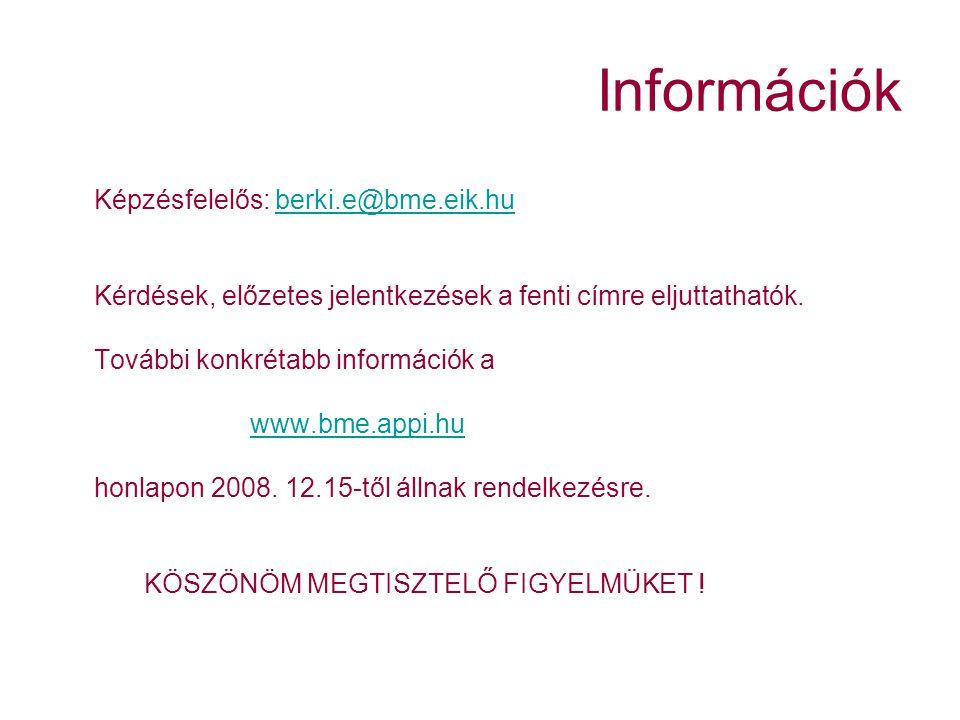 Információk Képzésfelelős: berki.e@bme.eik.huberki.e@bme.eik.hu Kérdések, előzetes jelentkezések a fenti címre eljuttathatók.