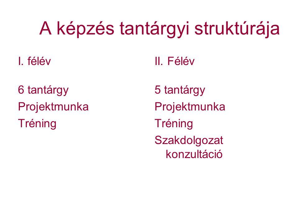 A képzés tantárgyi struktúrája I.félév 6 tantárgy Projektmunka Tréning II.