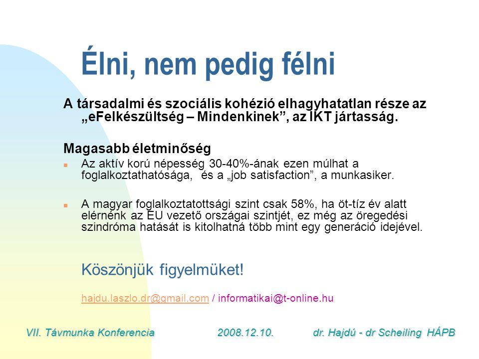 """VII. Távmunka Konferencia2008.12.10.dr. Hajdú - dr Scheiling HÁPB Élni, nem pedig félni A társadalmi és szociális kohézió elhagyhatatlan része az """"eFe"""