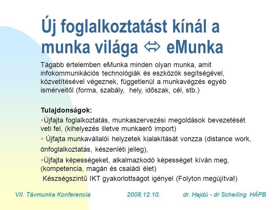 VII. Távmunka Konferencia2008.12.10.dr. Hajdú - dr Scheiling HÁPB Tágabb értelemben eMunka minden olyan munka, amit infokommunikációs technológiák és