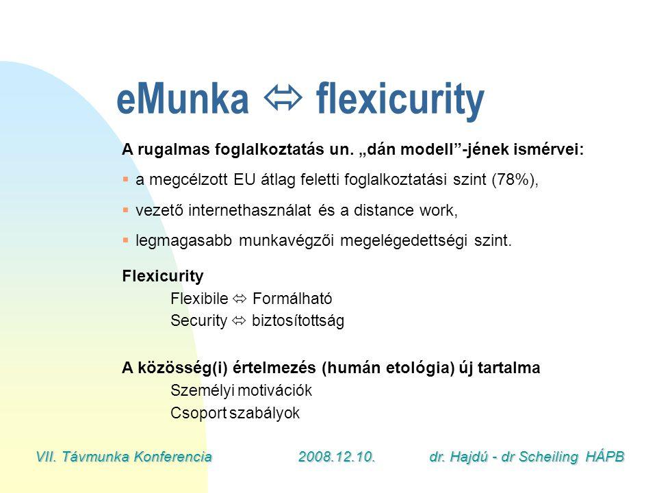 """VII. Távmunka Konferencia2008.12.10.dr. Hajdú - dr Scheiling HÁPB eMunka  flexicurity A rugalmas foglalkoztatás un. """"dán modell""""-jének ismérvei:  a"""