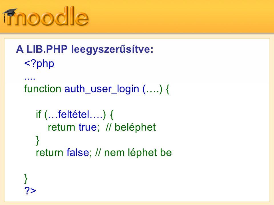 A LIB.PHP leegyszerűsítve: <?php.... function auth_user_login (….) { if (…feltétel….) { return true; // beléphet } return false; // nem léphet be } ?>