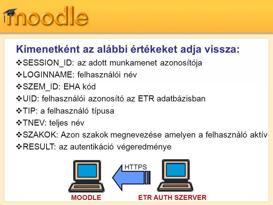  SESSION_ID: az adott munkamenet azonosítója  LOGINNAME: felhasználói név  SZEM_ID: EHA kód  UID: felhasználói azonosító az ETR adatbázisban  TIP