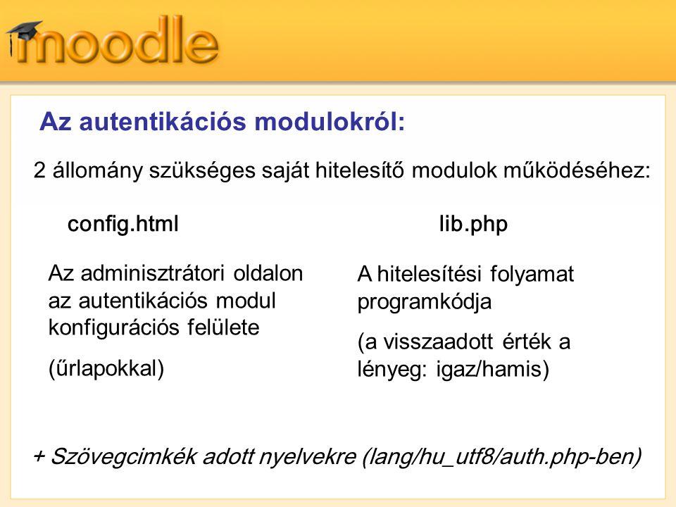 Az autentikációs modulokról: 2 állomány szükséges saját hitelesítő modulok működéséhez: config.html lib.php Az adminisztrátori oldalon az autentikáció
