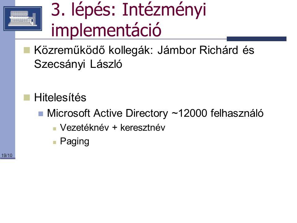 19/10 3. lépés: Intézményi implementáció Közreműködő kollegák: Jámbor Richárd és Szecsányi László Hitelesítés Microsoft Active Directory ~12000 felhas