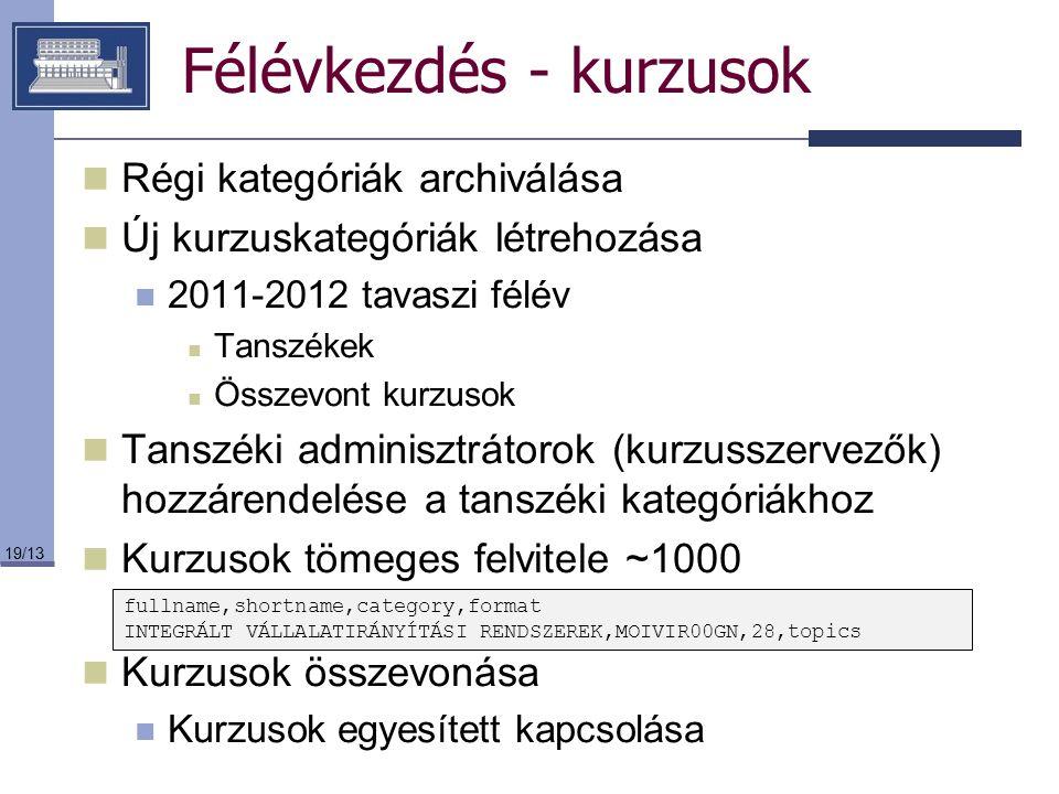 19/13 Félévkezdés - kurzusok Régi kategóriák archiválása Új kurzuskategóriák létrehozása 2011-2012 tavaszi félév Tanszékek Összevont kurzusok Tanszéki