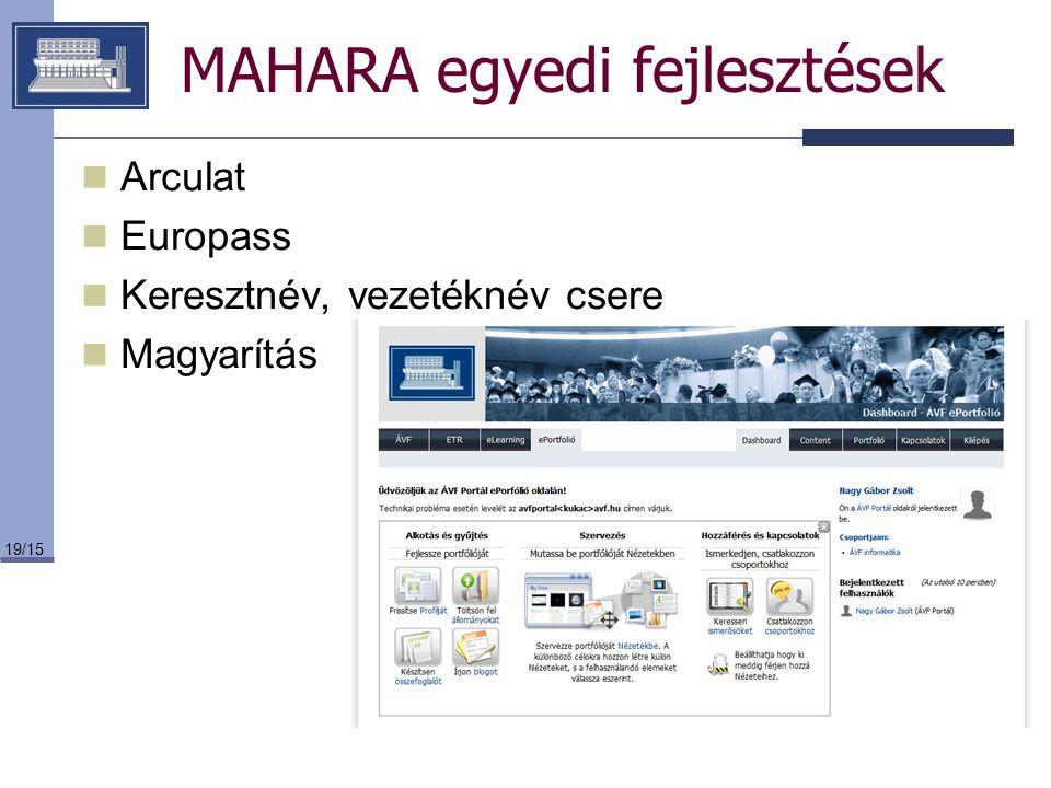 19/15 MAHARA egyedi fejlesztések Arculat Europass Keresztnév, vezetéknév csere Magyarítás