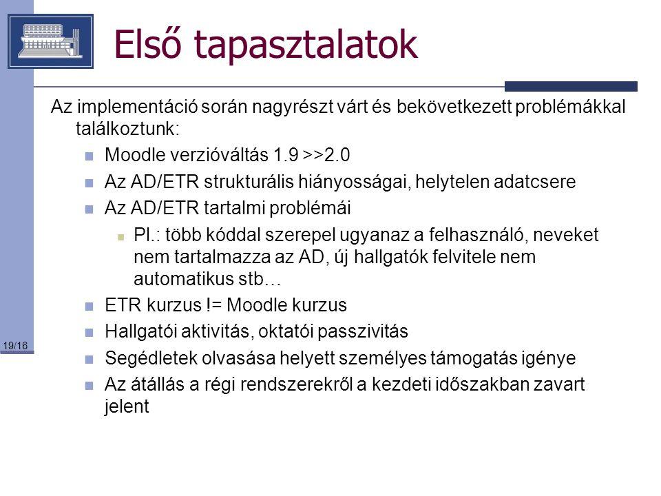 19/16 Első tapasztalatok Az implementáció során nagyrészt várt és bekövetkezett problémákkal találkoztunk: Moodle verzióváltás 1.9 >>2.0 Az AD/ETR str