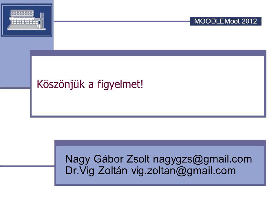 MOODLEMoot 2012 Köszönjük a figyelmet! Nagy Gábor Zsolt nagygzs@gmail.com Dr.Vig Zoltán vig.zoltan@gmail.com