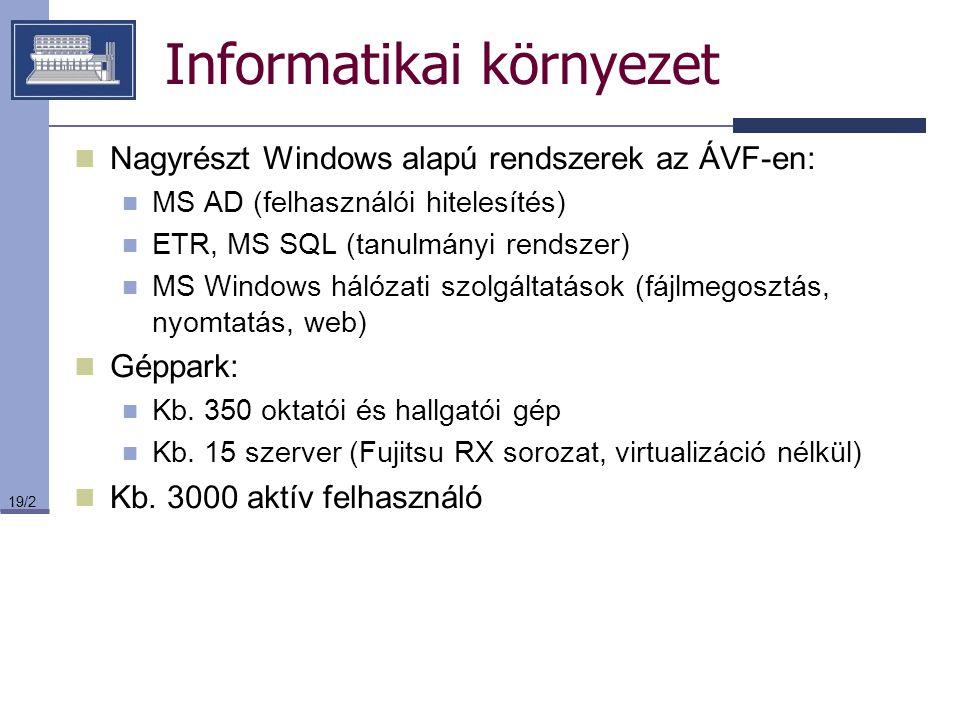19/2 Informatikai környezet Nagyrészt Windows alapú rendszerek az ÁVF-en: MS AD (felhasználói hitelesítés) ETR, MS SQL (tanulmányi rendszer) MS Window