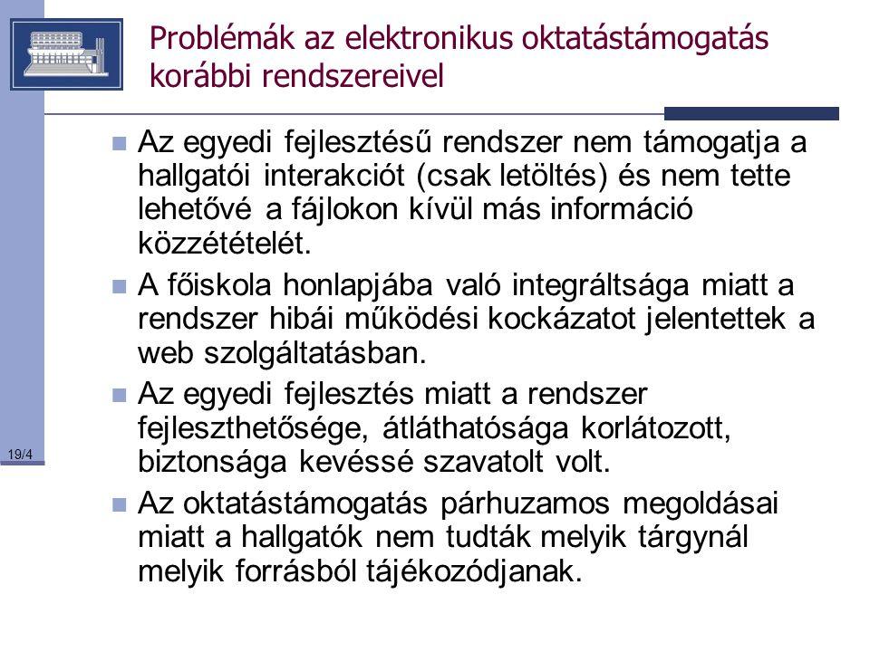 19/4 Problémák az elektronikus oktatástámogatás korábbi rendszereivel Az egyedi fejlesztésű rendszer nem támogatja a hallgatói interakciót (csak letöl