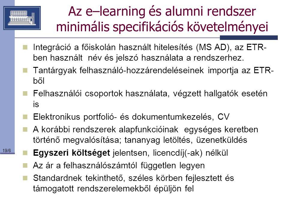19/6 Az e–learning és alumni rendszer minimális specifikációs követelményei Integráció a főiskolán használt hitelesítés (MS AD), az ETR- ben használt