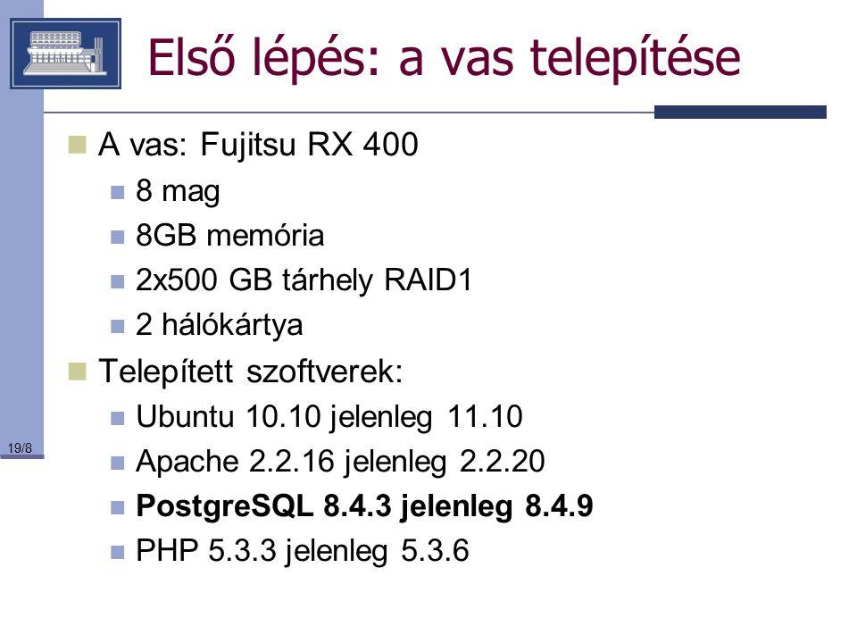 19/8 Első lépés: a vas telepítése A vas: Fujitsu RX 400 8 mag 8GB memória 2x500 GB tárhely RAID1 2 hálókártya Telepített szoftverek: Ubuntu 10.10 jele