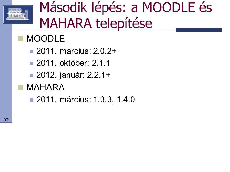 19/9 Második lépés: a MOODLE és MAHARA telepítése MOODLE 2011. március: 2.0.2+ 2011. október: 2.1.1 2012. január: 2.2.1+ MAHARA 2011. március: 1.3.3,