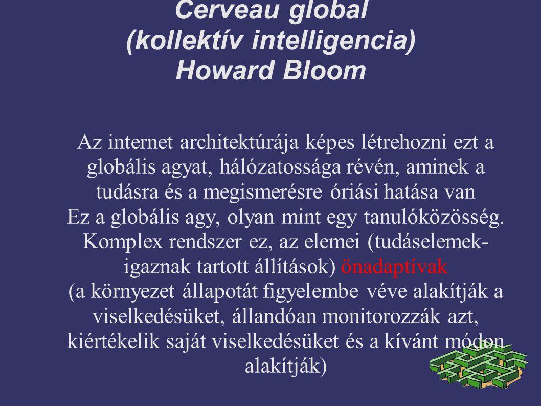Cerveau global (kollektív intelligencia) Howard Bloom Az internet architektúrája képes létrehozni ezt a globális agyat, hálózatossága révén, aminek a tudásra és a megismerésre óriási hatása van Ez a globális agy, olyan mint egy tanulóközösség.