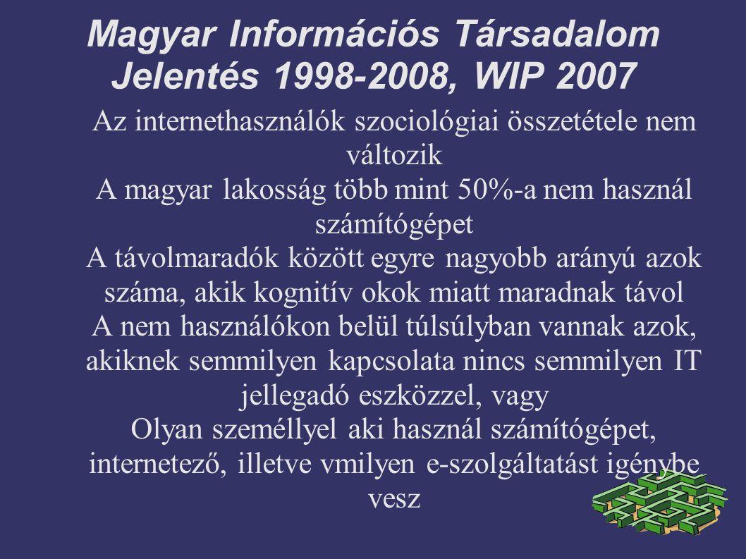 Magyar Információs Társadalom Jelentés 1998-2008, WIP 2007 Az internethasználók szociológiai összetétele nem változik A magyar lakosság több mint 50%-a nem használ számítógépet A távolmaradók között egyre nagyobb arányú azok száma, akik kognitív okok miatt maradnak távol A nem használókon belül túlsúlyban vannak azok, akiknek semmilyen kapcsolata nincs semmilyen IT jellegadó eszközzel, vagy Olyan személlyel aki használ számítógépet, internetező, illetve vmilyen e-szolgáltatást igénybe vesz