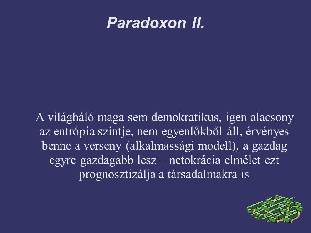 Paradoxon II. A világháló maga sem demokratikus, igen alacsony az entrópia szintje, nem egyenlőkből áll, érvényes benne a verseny (alkalmassági modell