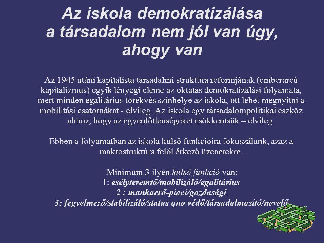 Az iskola demokratizálása a társadalom nem jól van úgy, ahogy van Az 1945 utáni kapitalista társadalmi struktúra reformjának ( emberarcú kapitalizmus