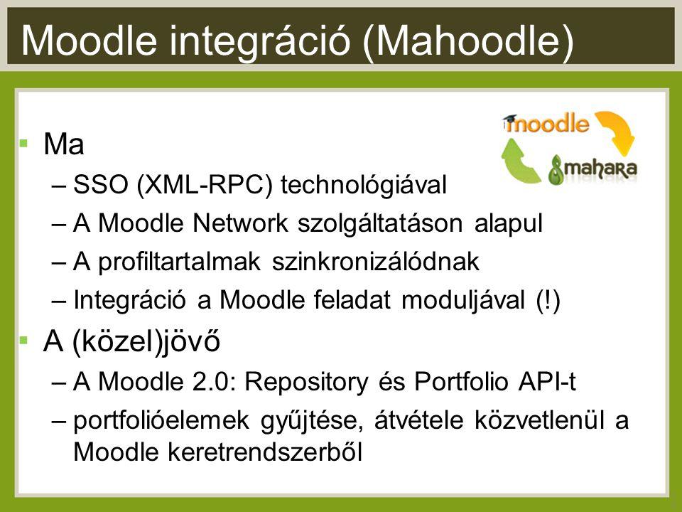 Moodle integráció (Mahoodle) ▪ Ma –SSO (XML-RPC) technológiával –A Moodle Network szolgáltatáson alapul –A profiltartalmak szinkronizálódnak –Integráció a Moodle feladat moduljával (!) ▪ A (közel)jövő –A Moodle 2.0: Repository és Portfolio API-t –portfolióelemek gyűjtése, átvétele közvetlenül a Moodle keretrendszerből 13