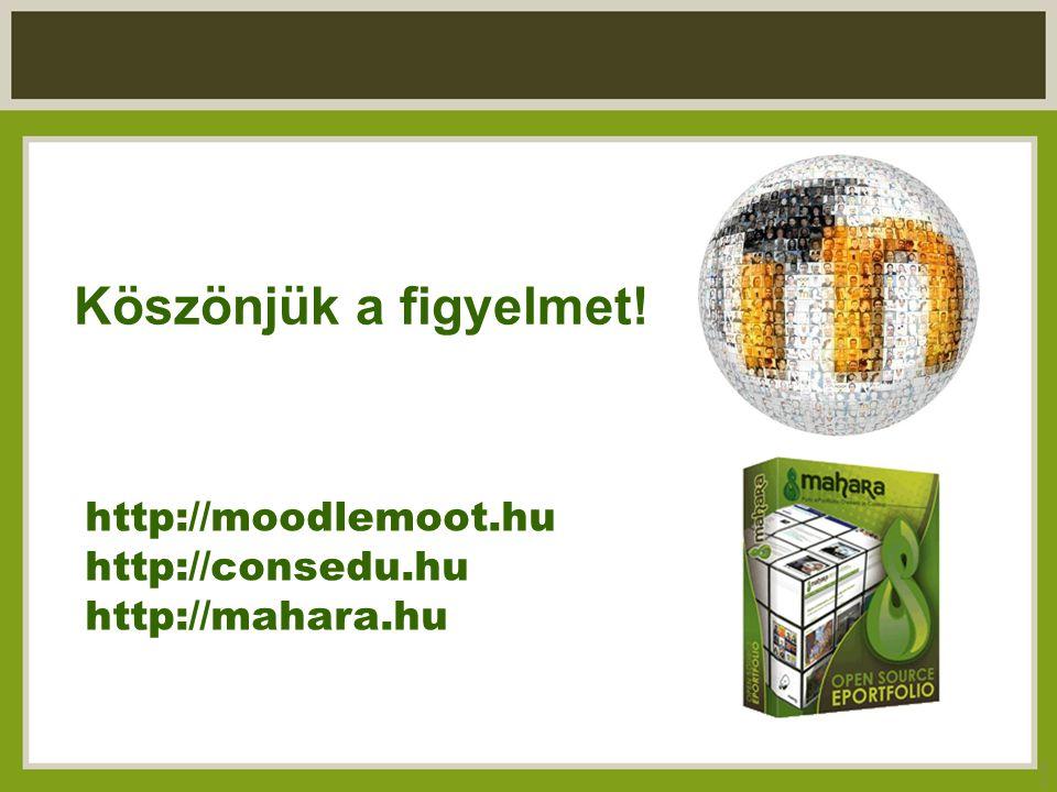 Köszönjük a figyelmet! 24 http://moodlemoot.hu http://consedu.hu http://mahara.hu