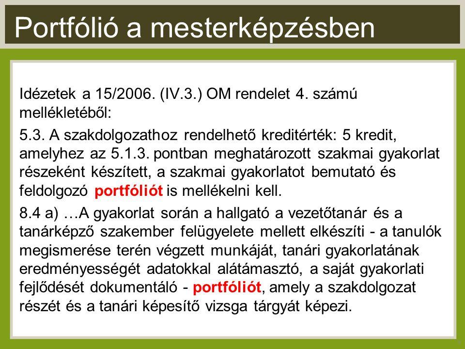 Portfólió a mesterképzésben Idézetek a 15/2006. (IV.3.) OM rendelet 4.