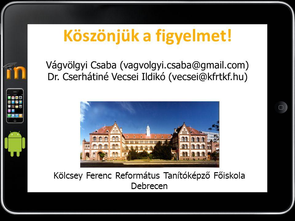 Köszönjük a figyelmet.Vágvölgyi Csaba (vagvolgyi.csaba@gmail.com) Dr.