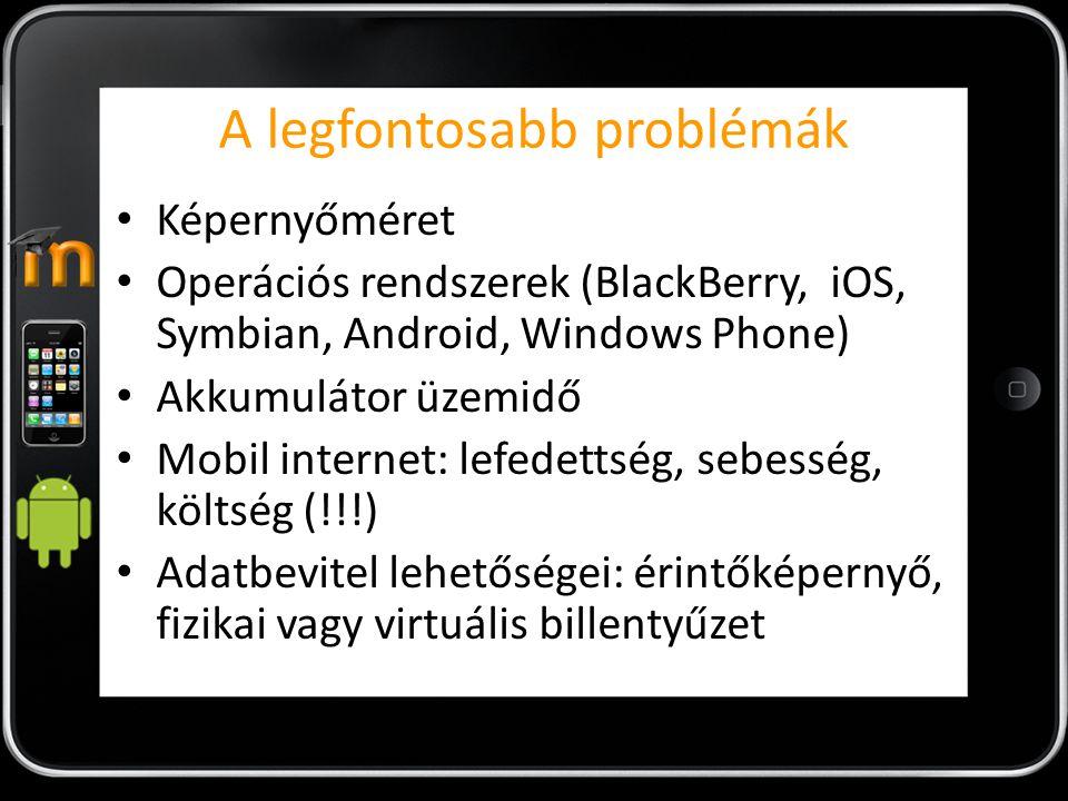 mBook URL: http://www.moodle.hk/course/category.php?id=7http://www.moodle.hk/course/category.php?id=7 Platform: iPAD Költség: 3-4 USD Moodle elérés támogatása: Natív (hibrid) Szerver oldali komponens: van (egy könyvtár elhelyezése szükségesa Moodle mappában) Fejlesztés intenzitása: folyamatos Utolsó verzió: 2011.