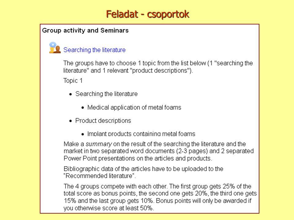 Feladat - csoportok