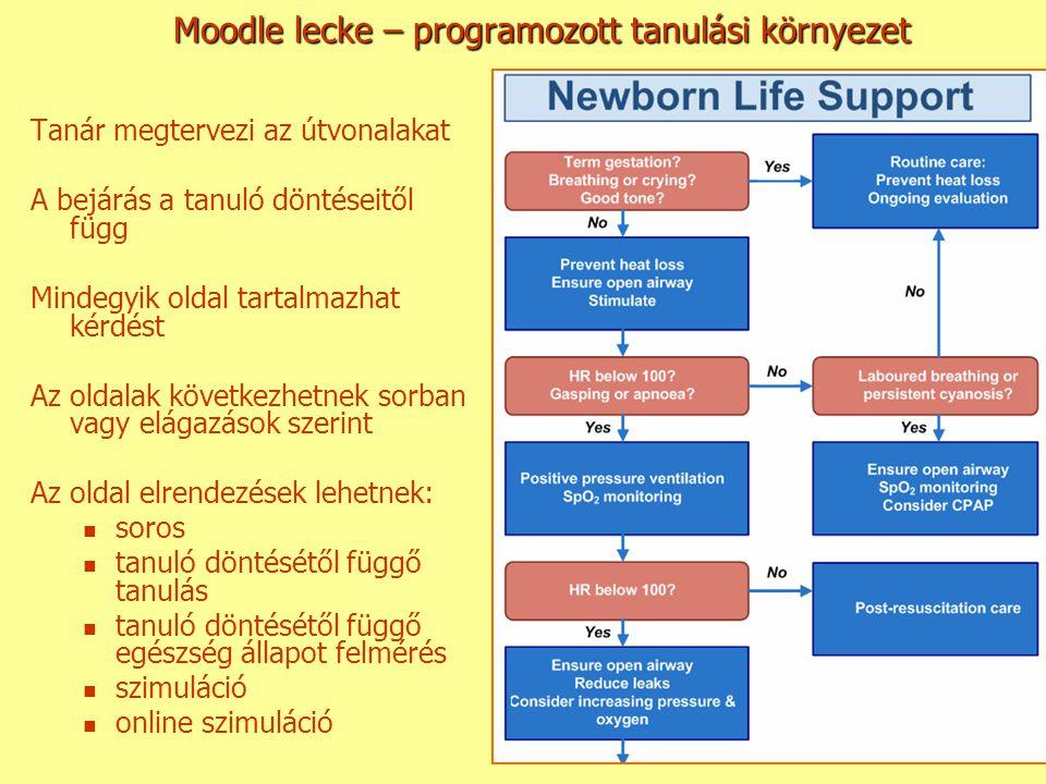 Moodle lecke – programozott tanulási környezet Tanár megtervezi az útvonalakat A bejárás a tanuló döntéseitől függ Mindegyik oldal tartalmazhat kérdés