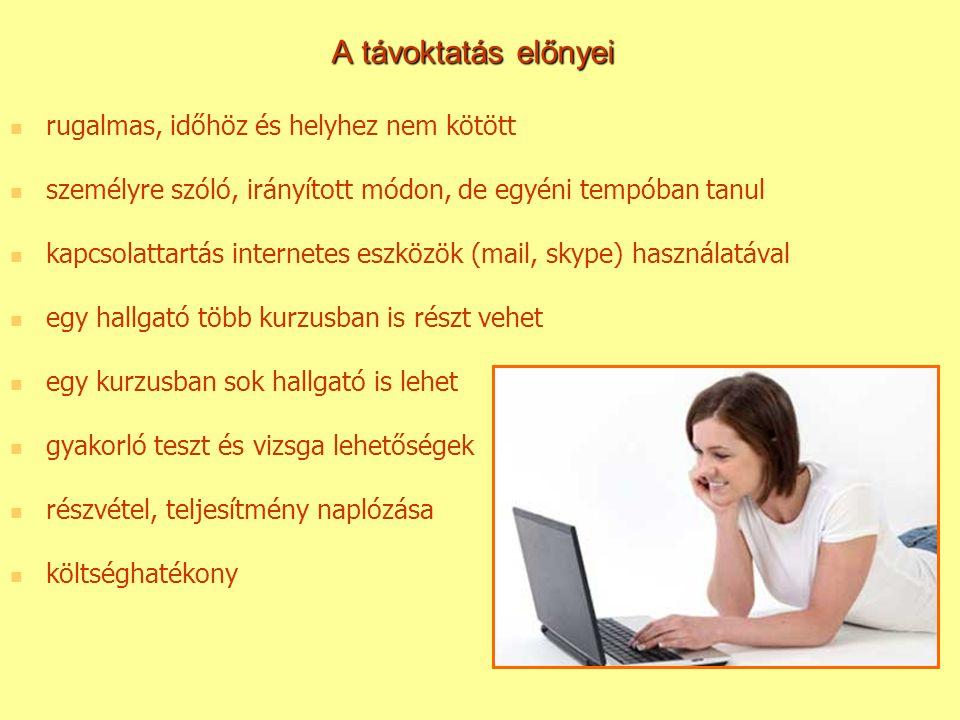 A távoktatás előnyei rugalmas, időhöz és helyhez nem kötött személyre szóló, irányított módon, de egyéni tempóban tanul kapcsolattartás internetes esz