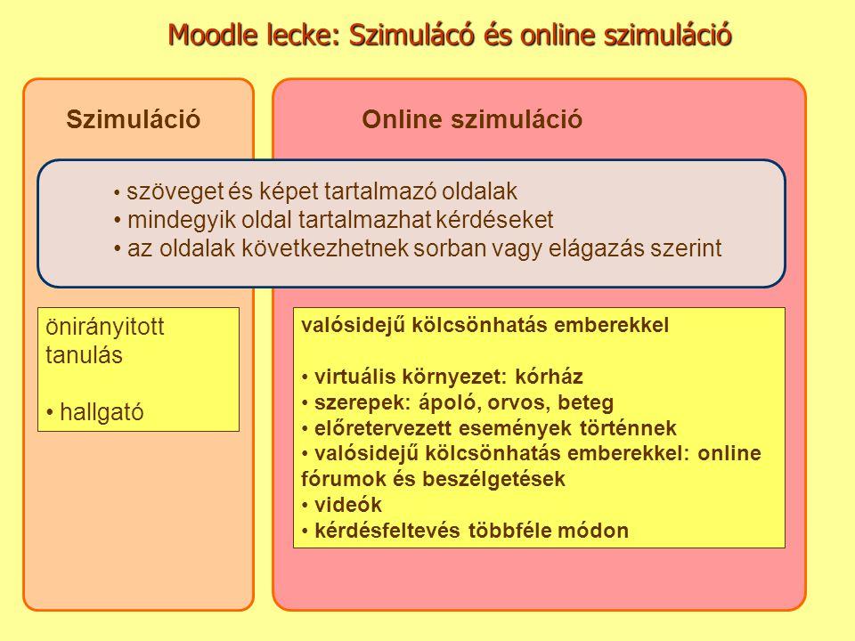Moodle lecke: Szimulácó és online szimuláció SzimulációOnline szimuláció valósidejű kölcsönhatás emberekkel virtuális környezet: kórház szerepek: ápol