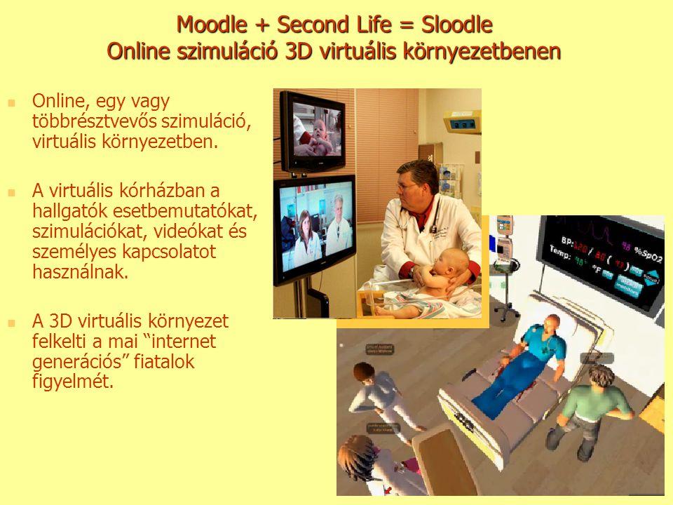 Moodle + Second Life = Sloodle Online szimuláció 3D virtuális környezetbenen Online, egy vagy többrésztvevős szimuláció, virtuális környezetben. A vir