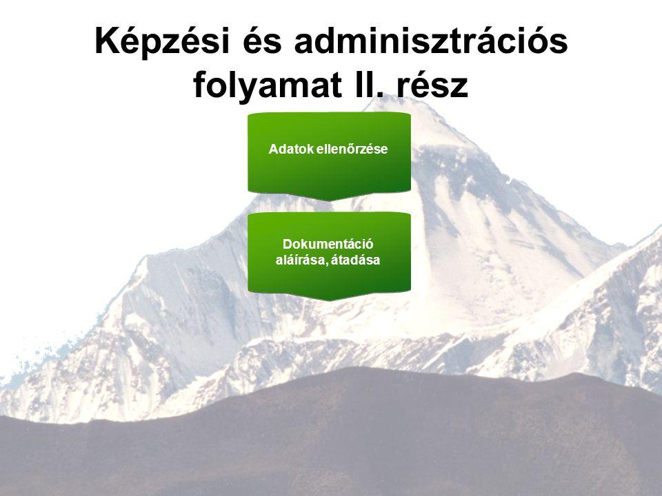 7 Képzési és adminisztrációs folyamat II. rész Adatok ellenőrzése Dokumentáció aláírása, átadása