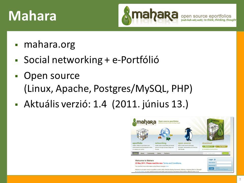 Mahara  mahara.org  Social networking + e-Portfólió  Open source (Linux, Apache, Postgres/MySQL, PHP)  Aktuális verzió: 1.4 (2011.