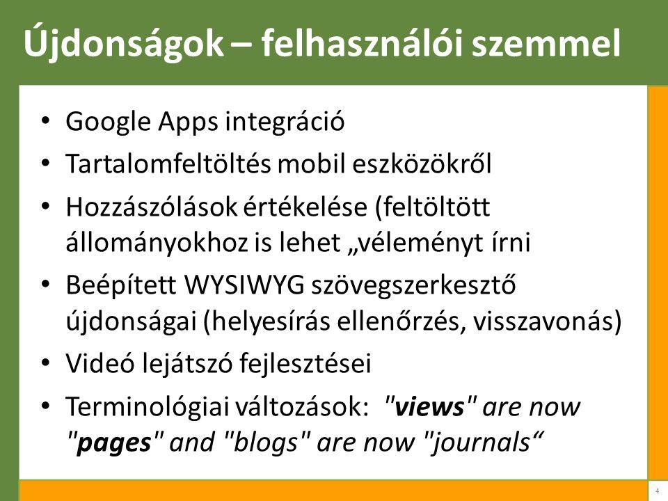 """Újdonságok – felhasználói szemmel Google Apps integráció Tartalomfeltöltés mobil eszközökről Hozzászólások értékelése (feltöltött állományokhoz is lehet """"véleményt írni Beépített WYSIWYG szövegszerkesztő újdonságai (helyesírás ellenőrzés, visszavonás) Videó lejátszó fejlesztései Terminológiai változások: views are now pages and blogs are now journals 4"""