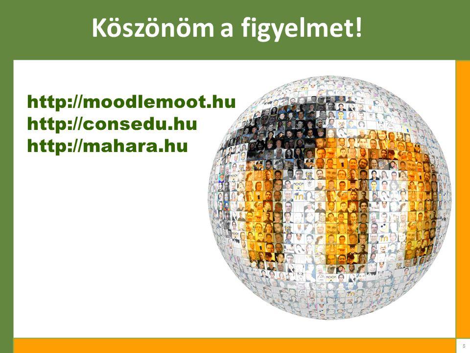 8 Köszönöm a figyelmet! http://moodlemoot.hu http://consedu.hu http://mahara.hu