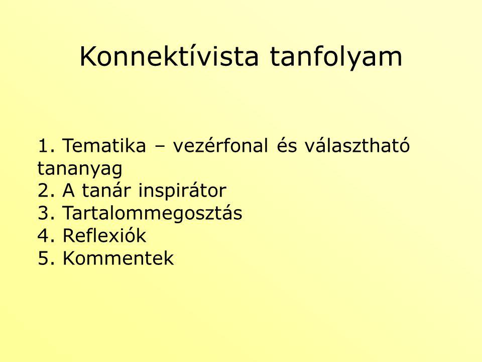 Konnektívista tanfolyam 1. Tematika – vezérfonal és választható tananyag 2. A tanár inspirátor 3. Tartalommegosztás 4. Reflexiók 5. Kommentek