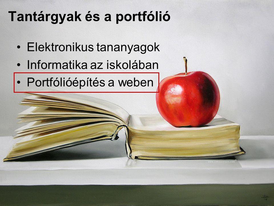 Tantárgyak és a portfólió Elektronikus tananyagok Informatika az iskolában Portfólióépítés a weben