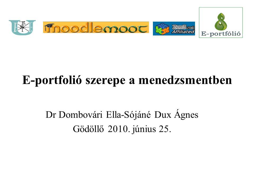 E-portfolió szerepe a menedzsmentben Dr Dombovári Ella-Sójáné Dux Ágnes Gödöllő 2010. június 25.
