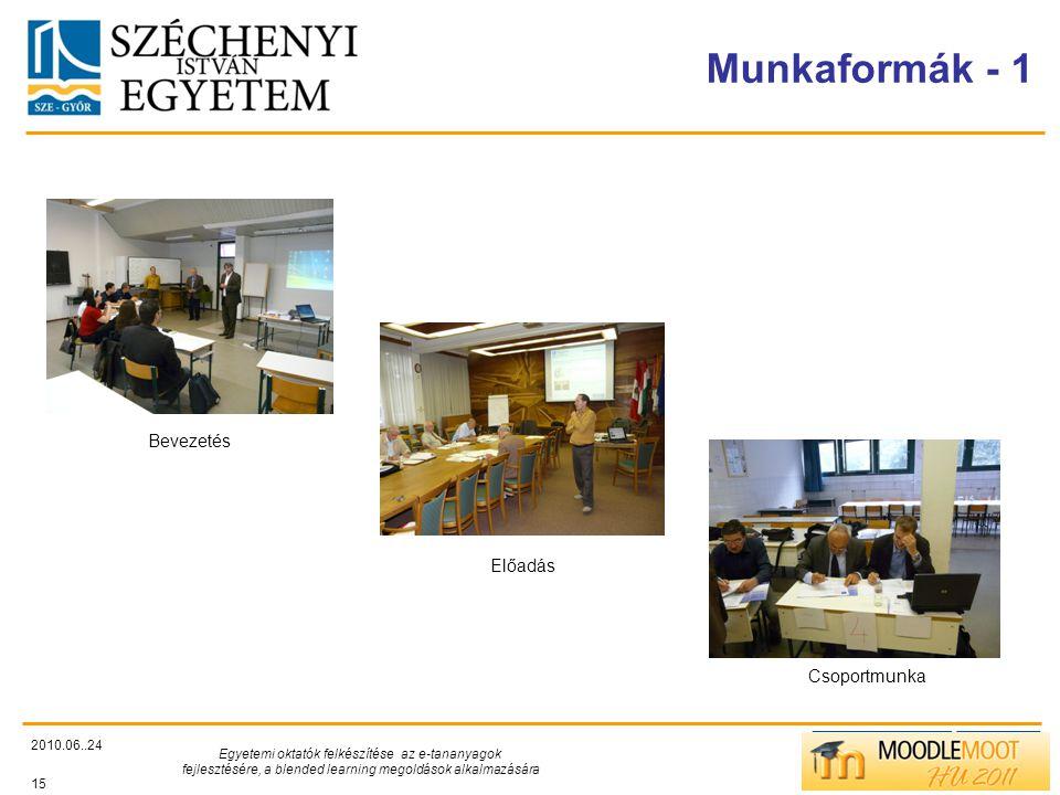 TÁMOP412/C Munkaformák - 1 2010.06..24 Egyetemi oktatók felkészítése az e-tananyagok fejlesztésére, a blended learning megoldások alkalmazására 15 Bevezetés Előadás Csoportmunka